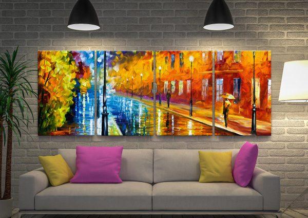 Blue Lights Quad Atmospheric Split Panel Art