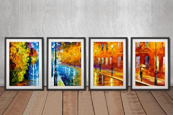 Buy Blue Lights Framed Quad Canvas Art