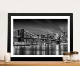 Buy Framed Brooklyn Bridge Monochrome Art