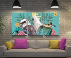Botanical Aussie Birds Triptych Canvas Art
