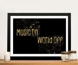 Music On World Off Framed Wall Art