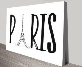 Paris Typographic Quality Print on Canvas