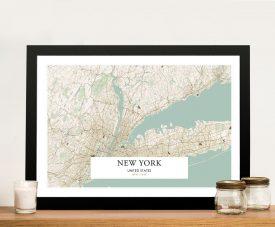New York Vintage Style Framed Map Art