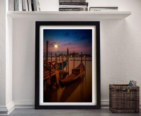 Gondolas During Blue Hour Framed Wall Art