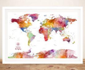 Colourful Custom Push Pin World Map Art