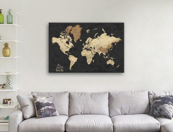 Beige & Black Map Art Unique Gifts Online