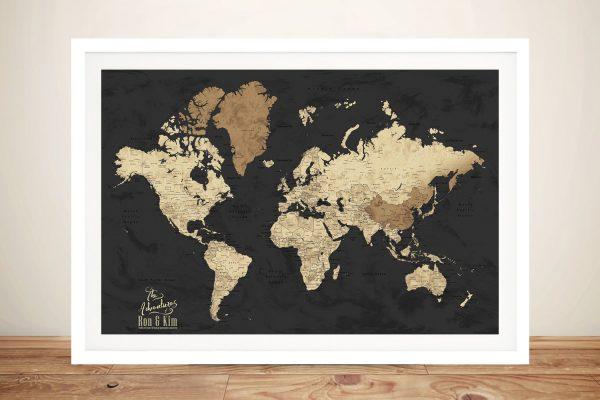 Framed Push Pin Map in Black & Beige Online