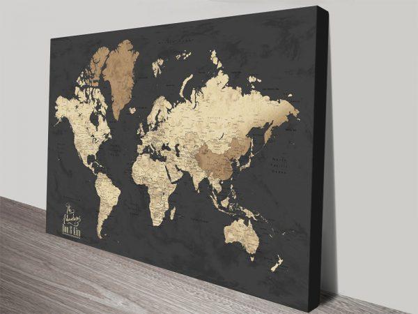 Buy a Black & Beige Bespoke World Map