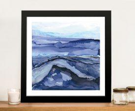 Buy Bluescape V Framed Abstract Art on Canvas