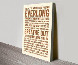 Everlong Song Lyrics Typographic Artwork