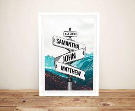 Buy Framed Vintage Mountain Signpost Art