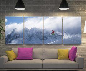 Snowboarder Split Panel Landscape Artwork