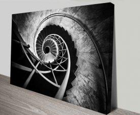 Black & White Spiral Staircase Wall Art