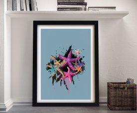 Starfish Colourful Framed Print on Canvas