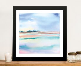 Framed Water & Sand Pastel Print on Canvas