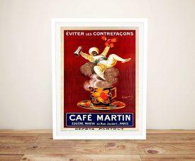 Cafe Martin Framed Antique Poster on Canvas