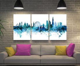 Buy London Skyline Blue Triptych Artwork