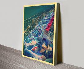 Retro Sonic Movie Poster on Canvas