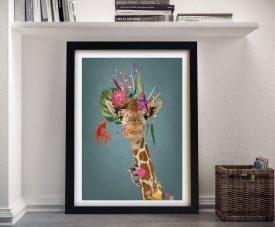 Framed Giraffe Abstract Print on Canvas
