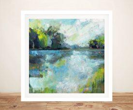 Framed Calm Waters Lake Scene Wall Art