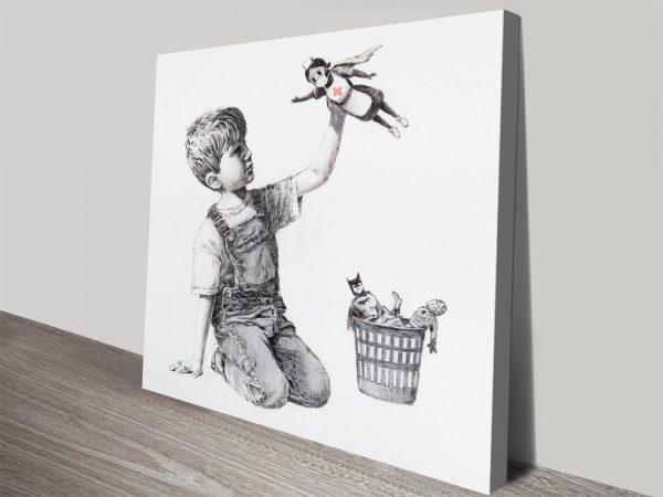 Superhero Nurse Banksy Covid-19 Wall Art
