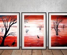 Crimson Skies Framed Split Panel Wall Art