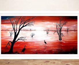 Crimson Skies Framed Colourful Landscape