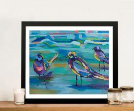 Indigo Gulls Framed Abstract Print on Canvas