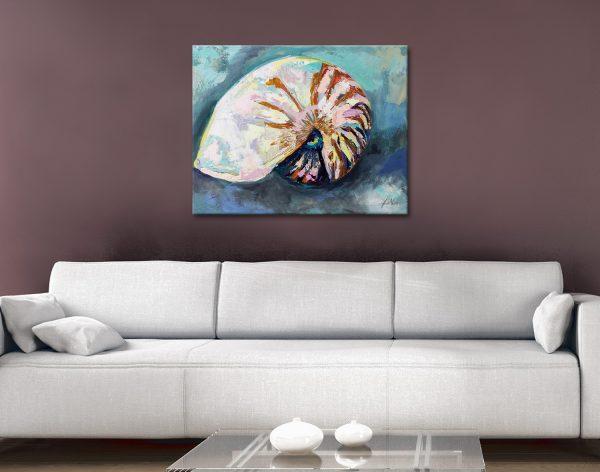 Nautilus Shell Print on Canvas Home Decor Ideas