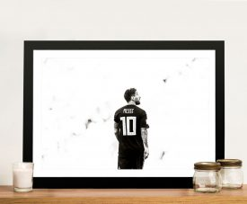 Lionel Messi Black & White Framed Art