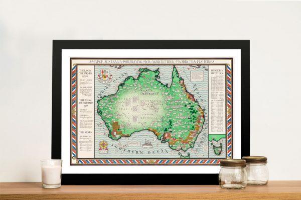 1930's Map of Australia Framed Wall Art
