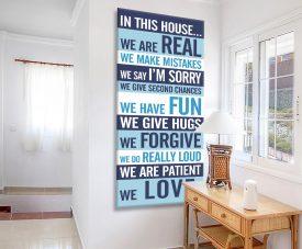 Retro Blue House Rule Tram Scroll Art Print
