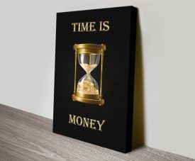 Time is Money Black and Gold Art on Canvas
