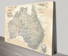 Vintage Style Personalised Push Pin Map of Oz