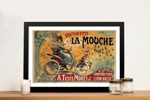 Framed Voiturette la Mouche Vintage Wall Art