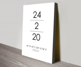 Date & Place Personalised Coordinates Art