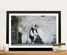 Framed Banksy Maid Graffiti Art on Canvas