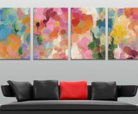 Colourful Garden 4-Panel Abstract Wall Art