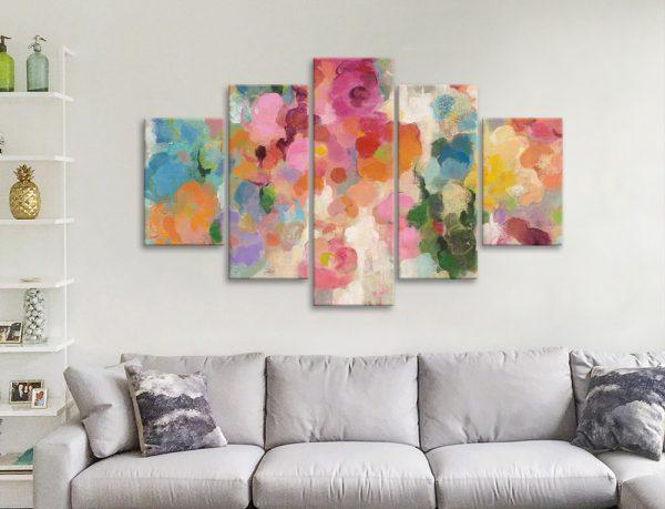 Ready to Hang Vibrant Abstract Split Panel Art