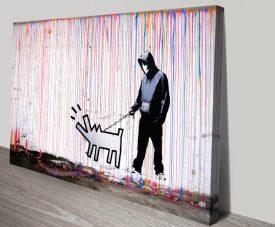 Colourful Rain Graffiti Art Print on Canvas