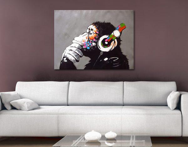 DJ Monkey Affordable Banksy Wall Art for Sale