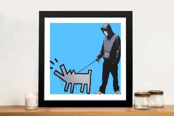 Dog Man in Blue Framed Graffiti Art on Canvas