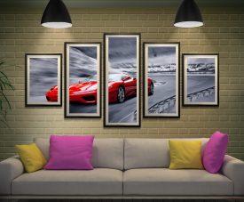Red Ferrari Framed Split Diamond Art Set