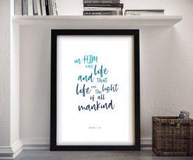 Framed John 1:4 Christian Art on Canvas