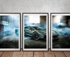 Lamborghini Framed Triptych Wall Art
