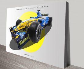 Renault R26 Retro F1 Car Print on Canvas