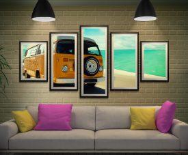 Framed 5-Piece Vintage VW Art on Canvas