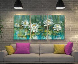 Water Lily Pond Triptych Danhui Nai Art Set