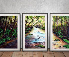 Blue Mountains Creek Framed 3-Piece Art Set
