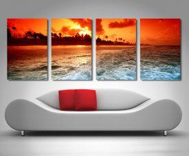 Paradise Sunset 4-Piece Wall Art on Canvas